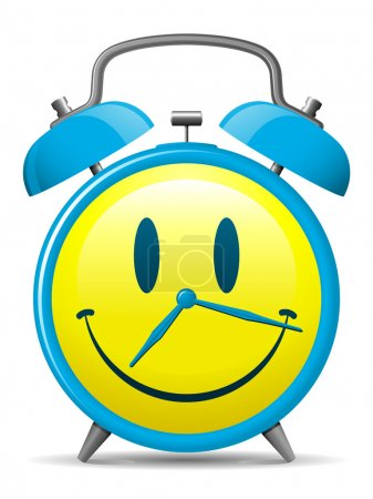 Illustration for Classic alarm clock with smiley face - Royalty Free Image