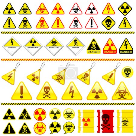 Huge danger symbol icon collection