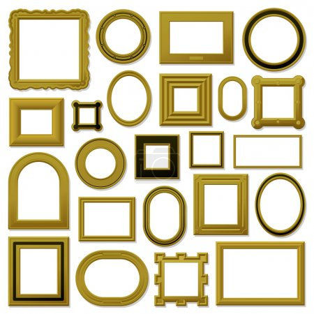 Collection of golden vintage picture frames
