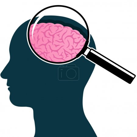 Male head silhouette with magnifying glass and brain