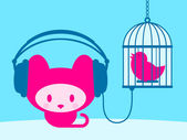 Cute kitten listening to singing bird on blue background- vector