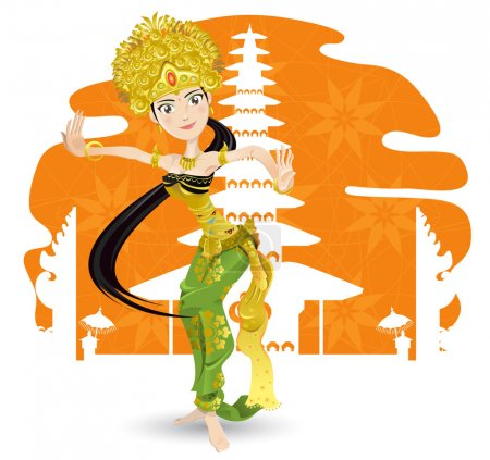 An Illustration Of Beautiful Balinese Dancer With Background Of Pura, Hindhuism Temple.