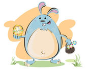 An Illustration Of Fat Easter Bunny Holding A Basket Of Eggs