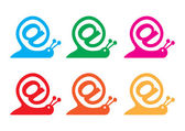 Snail as internet sign and email icon vector