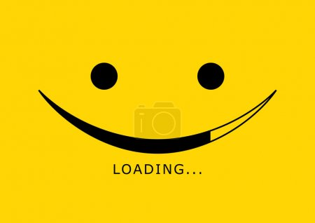 Illustration for Loading icon - smile face, vector - Royalty Free Image