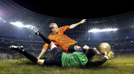 Photo for Football player and jump of goalkeeper on the field of stadium at night - Royalty Free Image