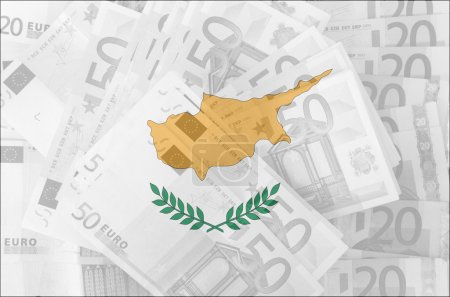 Flag of Cyprus with transparent euro banknotes in background