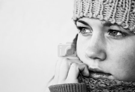 Photo for Sad girl in winter clothes - Royalty Free Image