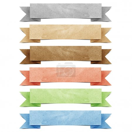 Photo for Header origami tag recycled paper craft stick on white background - Royalty Free Image