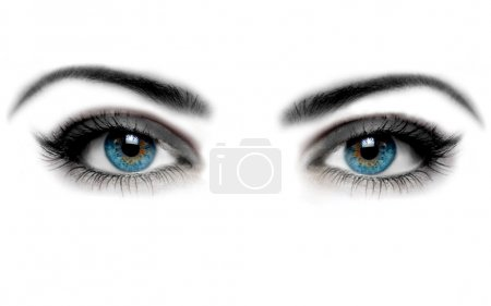 Woman eye and white background