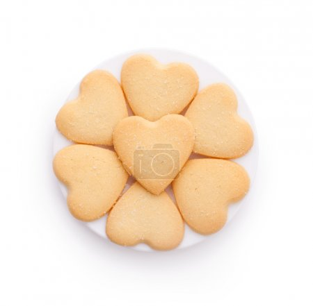 Photo for Heart shaped cookies isolated on white background - Royalty Free Image