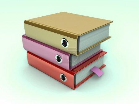 3d illustration of archive folders stack