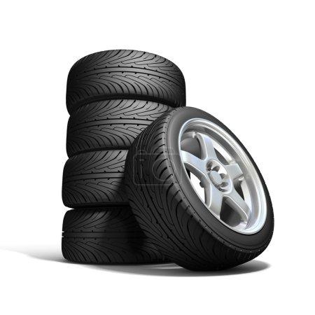 Wheels isolated on white. 3d illustration