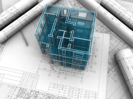 Breadboard-Modell eines Gebäudes nach Zeichnungen