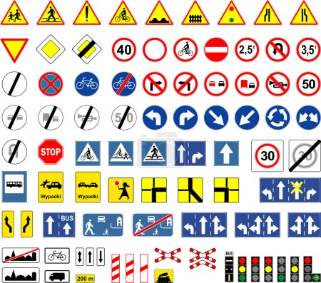 Illustration for Road signs, Poland - Royalty Free Image