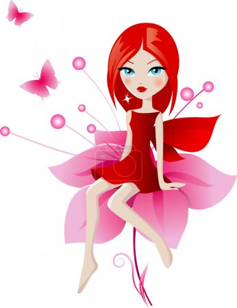 Illustration for Fairy sitting on red flower - Royalty Free Image