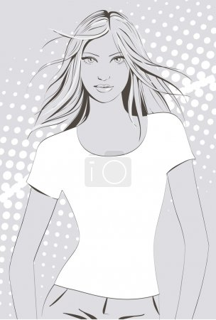 Illustration for Young girl in white t-shirt - Royalty Free Image