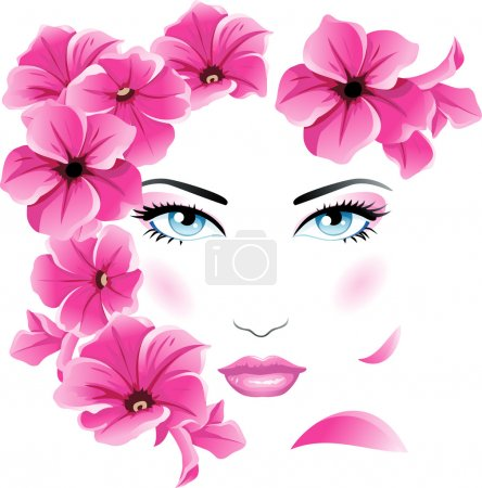 Illustration for Female face with flowers - Royalty Free Image