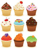 Set of cupcakes CMYK with global colors vector illustration