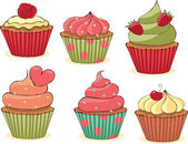 Sketchy yummy cupcakes set CMYK with global colors vector illustration