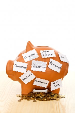 Piggy bank with notes - saving concept