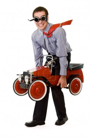 Crazy businessman with budget transportation