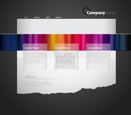 Website template with colored stripes.