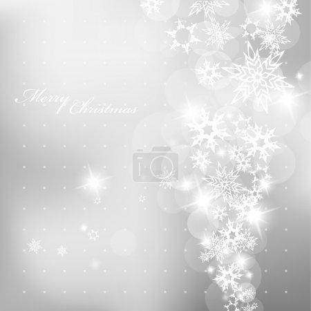 Illustration pour Fond de Noël argent avec flocons de neige . - image libre de droit