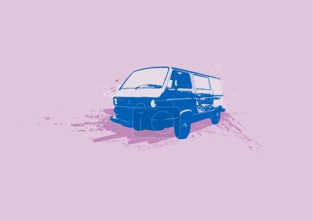 Illustration for Retro illustration of old stylish Volkswagen Transporter. Vector - Royalty Free Image