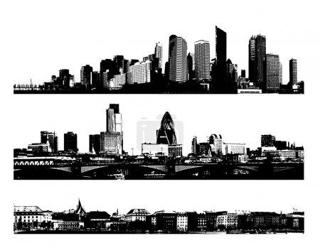 Photo pour Villes panoramiques en noir et blanc. Art vectoriel - image libre de droit