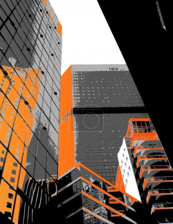 Skyscrapers with orange parts. Vector art