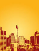 Silhouette of skyscrapers with yellow background Vector