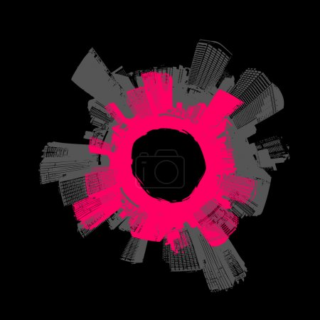 Illustration for City in circle with pink background. Vector art. - Royalty Free Image