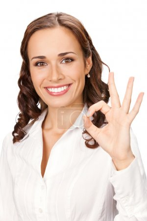 Photo for Happy smiling business woman with okay gesture, isolated on white background - Royalty Free Image