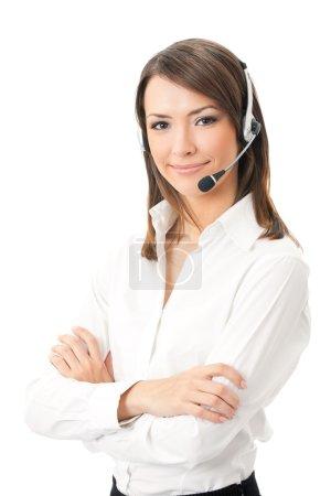 Photo pour Portrait de souriant heureux joyeux appui opérateur de téléphonie casque, isolé sur fond blanc - image libre de droit