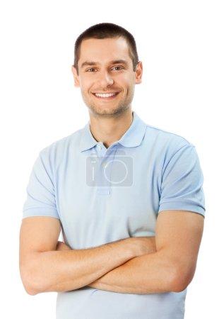Photo pour Portrait d'un homme souriant heureux, isolé sur blanc - image libre de droit