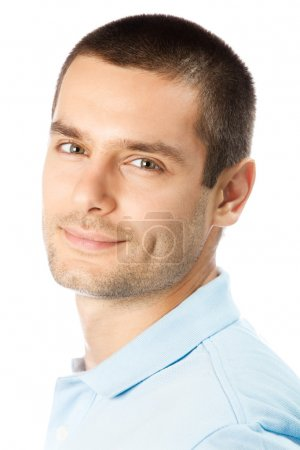 Photo for Portrait of happy smiling young man, isolated on white background - Royalty Free Image
