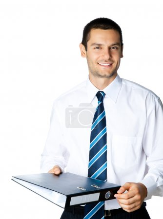 Businessman with folder, on white