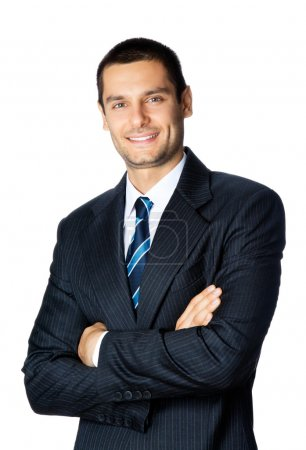 Photo for Portrait of happy smiling businessman, isolated on white background - Royalty Free Image