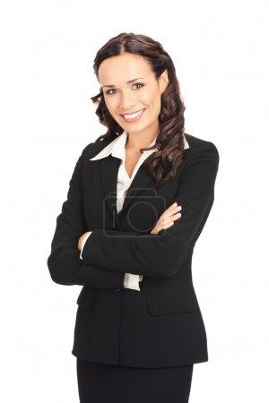 Photo pour Portrait de femme d'affaires souriant heureux, isolée sur fond blanc - image libre de droit