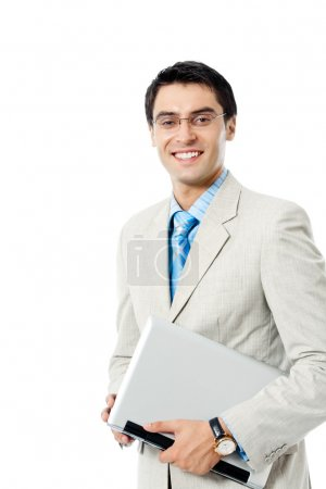 Businessman working with laptop, over white