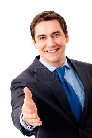 Photo pour Homme d'affaires donnant la main pour une poignée de main, isolée sur blanc - image libre de droit