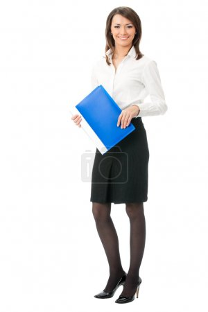Full body of business woman with blue folder, on white