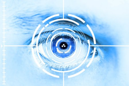 Photo for Technology scan man's eye for security or identification.Eye with scanner and computer interface - Royalty Free Image