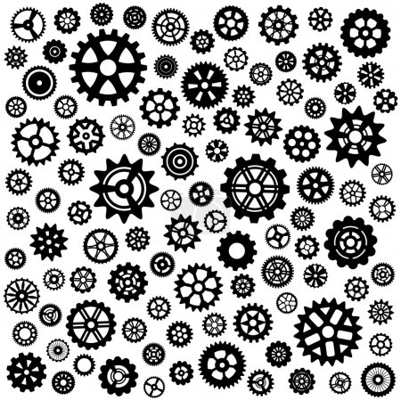 Illustration for Large set of more than 100 different gears - Royalty Free Image