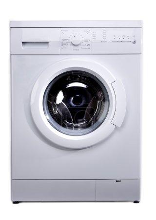 New wash machine on white background