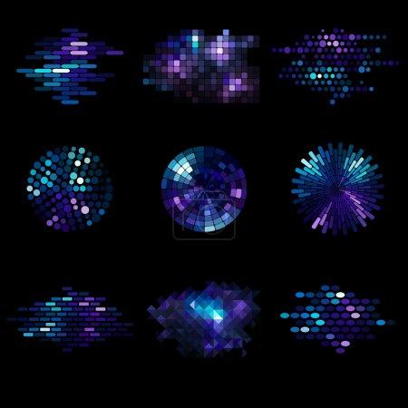 Illustration pour Ensemble de neuf éléments de mosaïque - image libre de droit