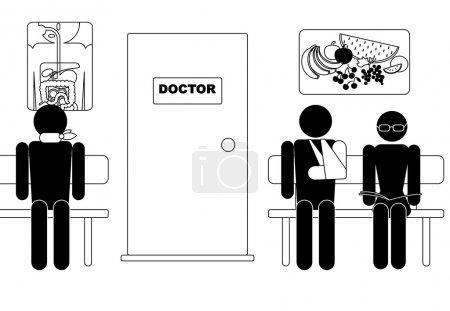 Illustration pour Salle d'attente, attendant de voir le médecin - image libre de droit