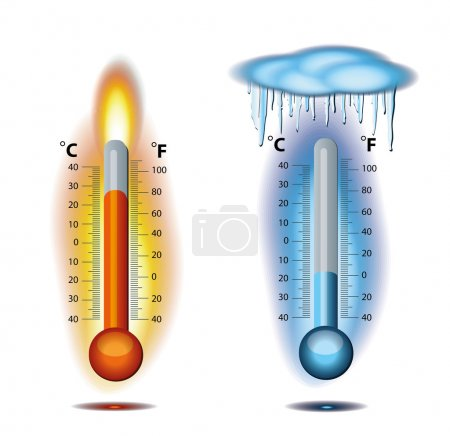 Illustration pour Thermomètre Feu Vecteur de glace - image libre de droit