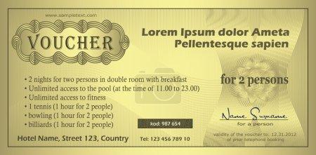 Illustration pour Modèle de coupon d'or Vector Voucher - image libre de droit